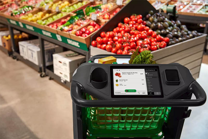 "Amazon develops ""smart shopping cart"" that scans as you place groceries so you can skip checkout"
