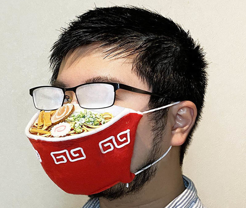 Artist designs ramen facemask to match your steamed up glasses