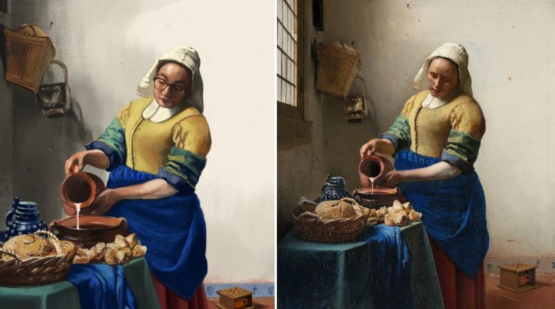 This designer painted herself into 100 famous paintings